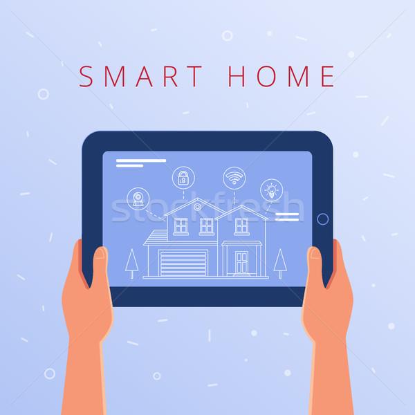 Tabletta okos otthon beállítások ház internet Stock fotó © RAStudio