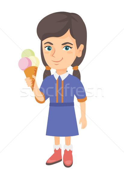Kicsi kaukázusi lány tart fagylalttölcsér derűs Stock fotó © RAStudio