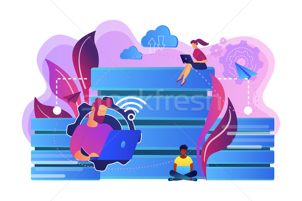 Bazy danych laptopy pracy przechowywanie danych organizacja Zdjęcia stock © RAStudio