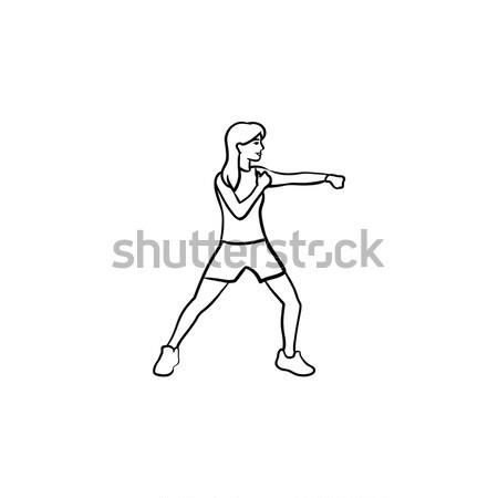 Female boxer hand drawn outline doodle icon. Stock photo © RAStudio