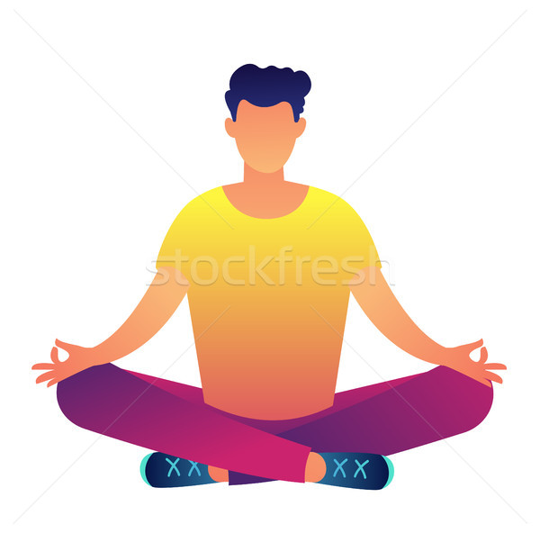 Office worker sitting in lotus pose vector illustration. Stock photo © RAStudio