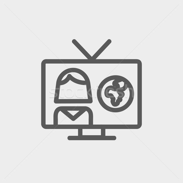 Tv weer verslaggever dun lijn icon Stockfoto © RAStudio