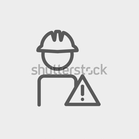 Arbeitnehmer Vorsicht Zeichen dünne line Symbol Stock foto © RAStudio