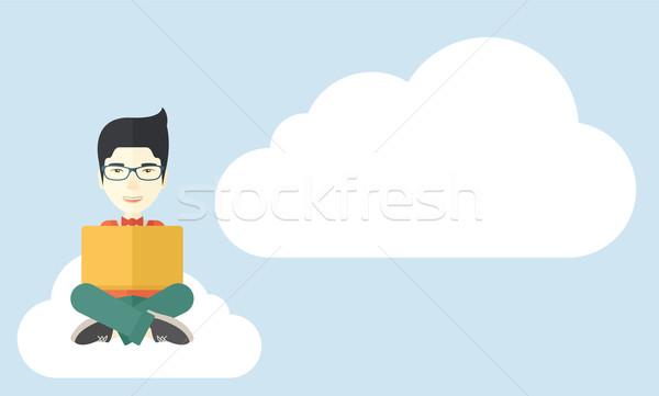 Kínai fickó olvas könyv ül felhő Stock fotó © RAStudio