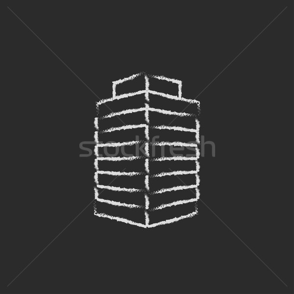 Office building icon drawn in chalk. Stock photo © RAStudio