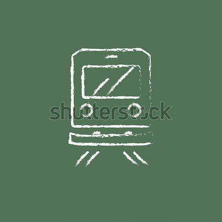 Widok z tyłu pociągu ikona kredy Zdjęcia stock © RAStudio