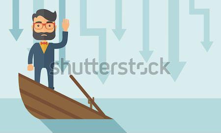 Csőd ijedt ázsiai üzletember áll süllyed Stock fotó © RAStudio