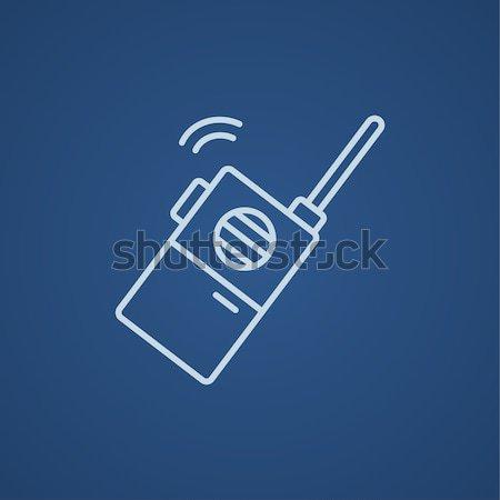 Hordozható rádió szett vonal ikon háló Stock fotó © RAStudio