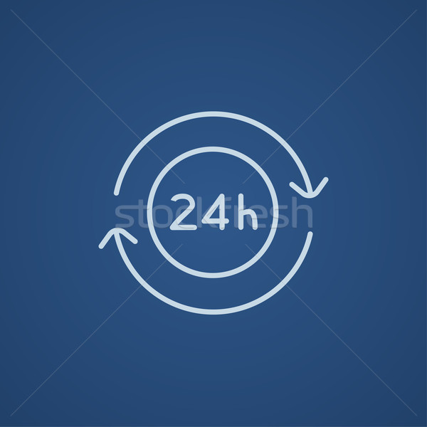 Service 24 hrs line icon. Stock photo © RAStudio