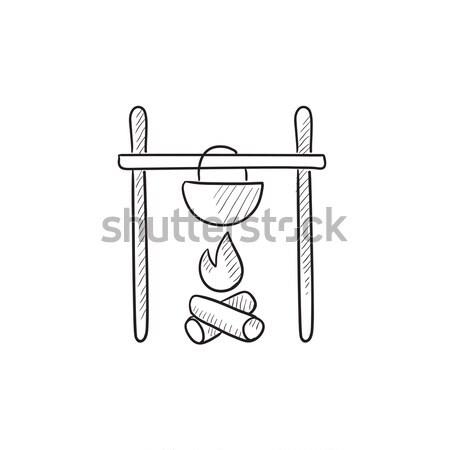 Koken ketel kampvuur lijn icon web Stockfoto © RAStudio