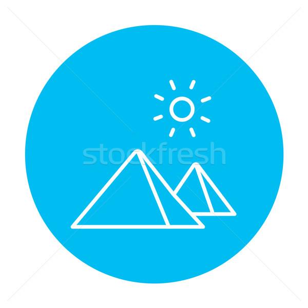 Egipcjanin piramidy line ikona internetowych komórkowych Zdjęcia stock © RAStudio
