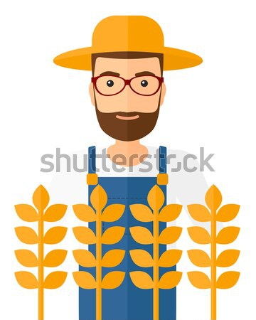 Homme agriculteur permanent vecteur design Photo stock © RAStudio