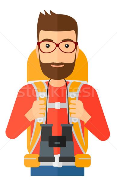 Vrolijk backpacker verrekijker man rugzak Stockfoto © RAStudio