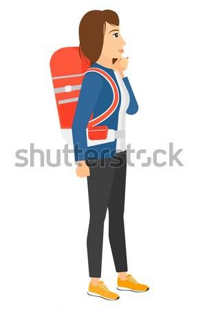 женщину глядя отъезд совета аэропорту вектора Сток-фото © RAStudio