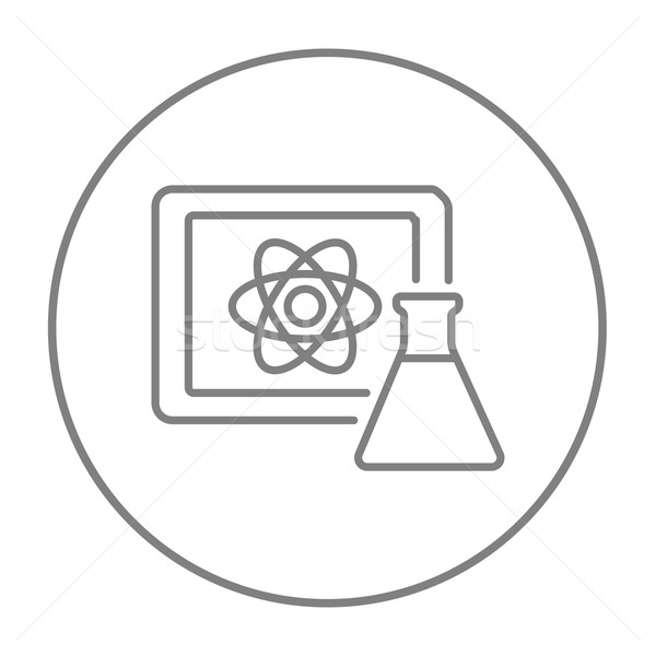 Atom sign drawn on board and flask line icon. Stock photo © RAStudio
