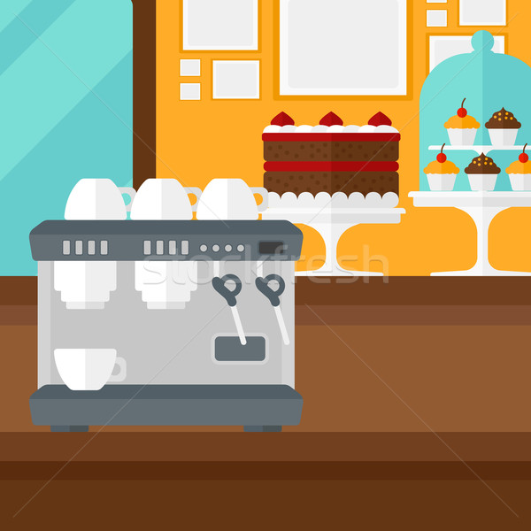Background of bakery with pastry and coffee maker. Stock photo © RAStudio