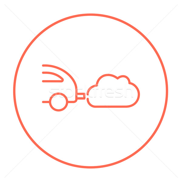 Stock photo: Car spewing polluting exhaust line icon.