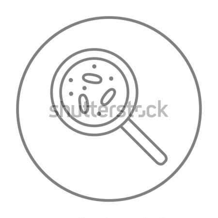 Stock photo: Microorganisms under magnifier line icon.