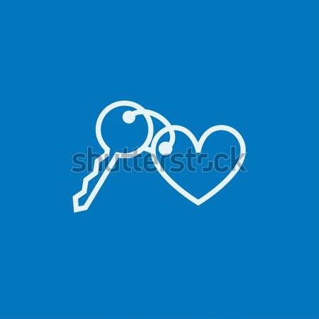 Bugiganga teclas coração linha ícone Foto stock © RAStudio