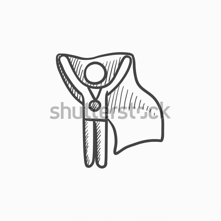 Medalist standing with flag sketch icon. Stock photo © RAStudio