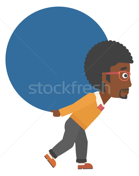 Man carrying big ball. Stock photo © RAStudio