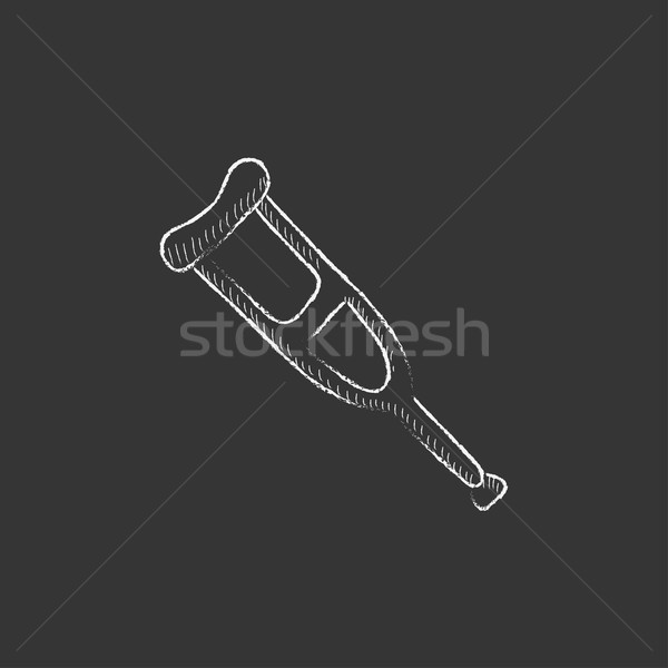 Crutch. Drawn in chalk icon. Stock photo © RAStudio