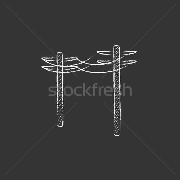 высокое напряжение мелом икона рисованной Сток-фото © RAStudio