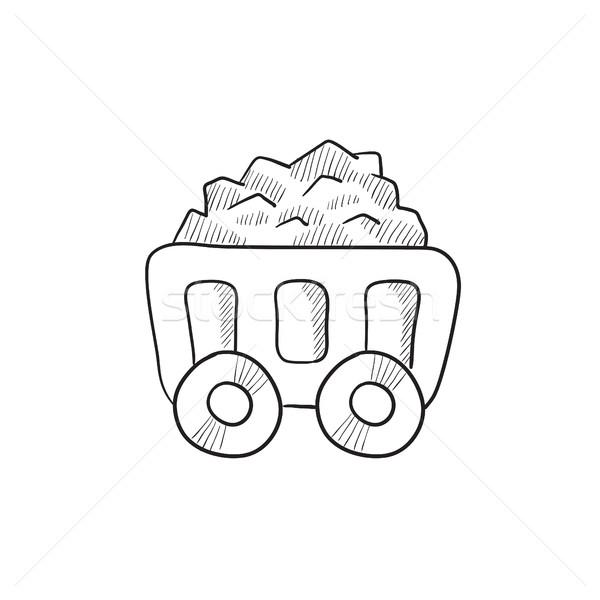 マイニング 石炭 カート スケッチ アイコン ベクトル ストックフォト © RAStudio