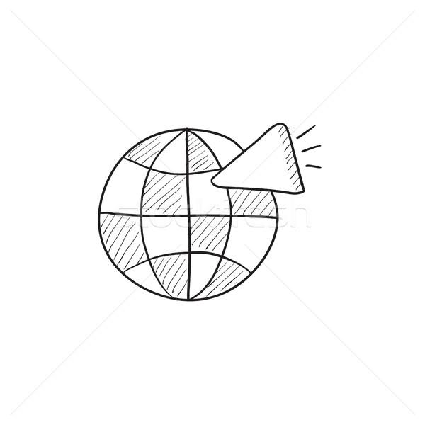 Globe with loudspeaker sketch icon. Stock photo © RAStudio