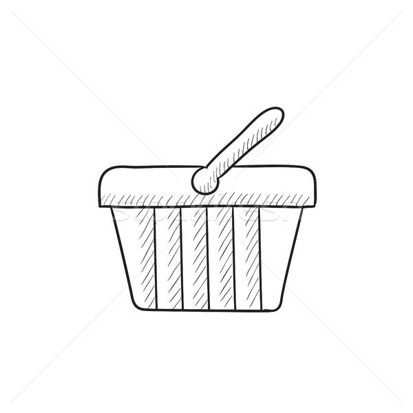 Stock fotó: Bevásárlókosár · rajz · ikon · vektor · izolált · kézzel · rajzolt