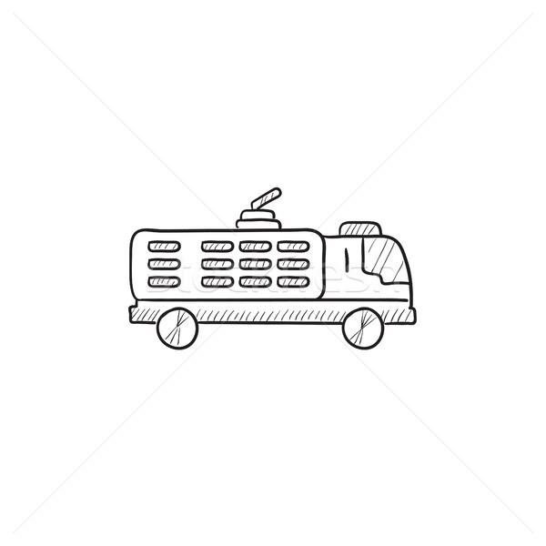 Wóz strażacki szkic ikona wektora odizolowany Zdjęcia stock © RAStudio