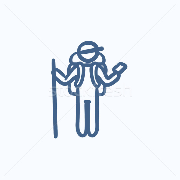 Tourist backpacker with phone sketch icon. Stock photo © RAStudio