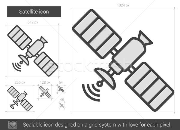 Satellite ligne icône vecteur isolé blanche Photo stock © RAStudio