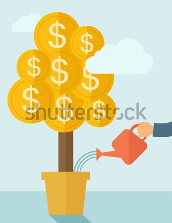 Növekvő pénz növény emberi kéz locsol dollár Stock fotó © RAStudio