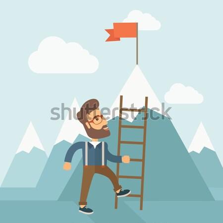 Man with a ladder. Stock photo © RAStudio