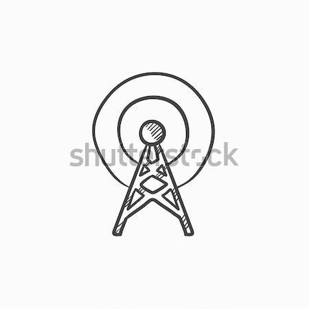 Antena esboço ícone vetor isolado Foto stock © RAStudio
