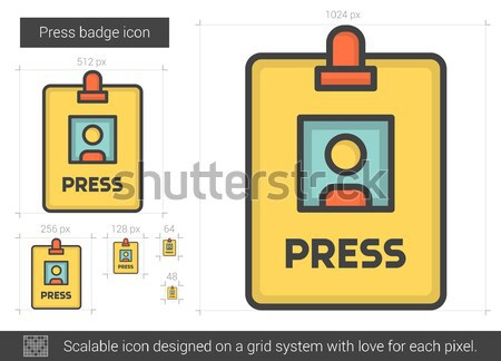 Press badge line icon. Stock photo © RAStudio