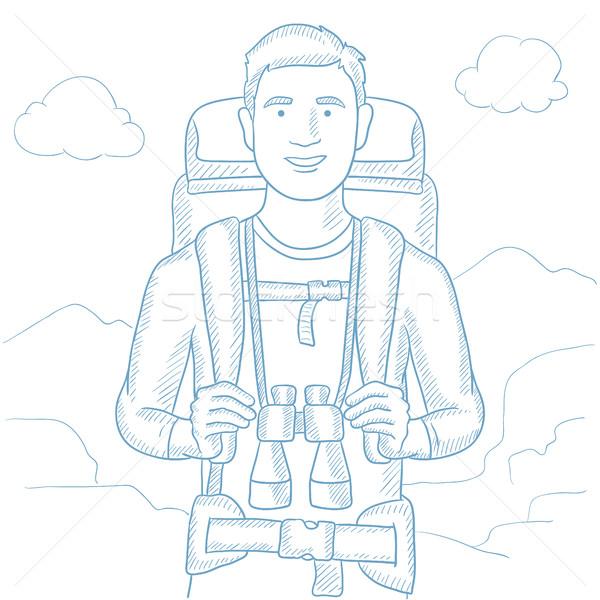 Traveler with backpack vector illustration. Stock photo © RAStudio