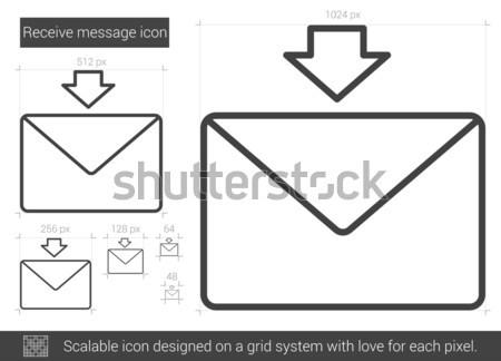 Stock fotó: Fogad · üzenet · vonal · ikon · vektor · izolált