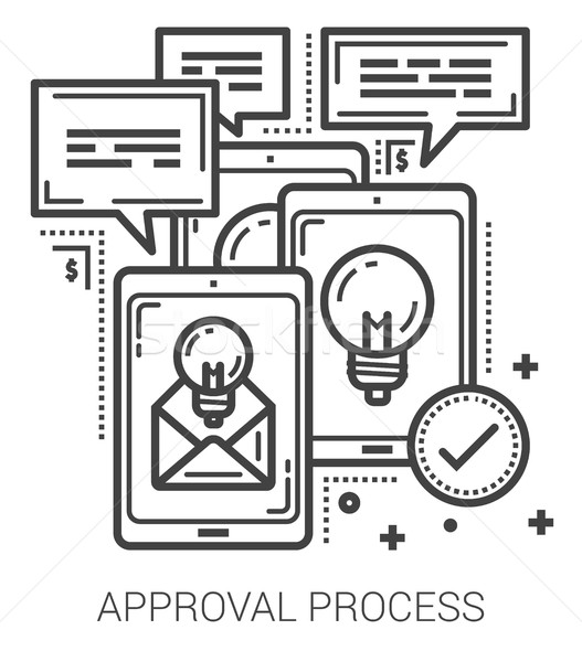 Approval process line icons. Stock photo © RAStudio
