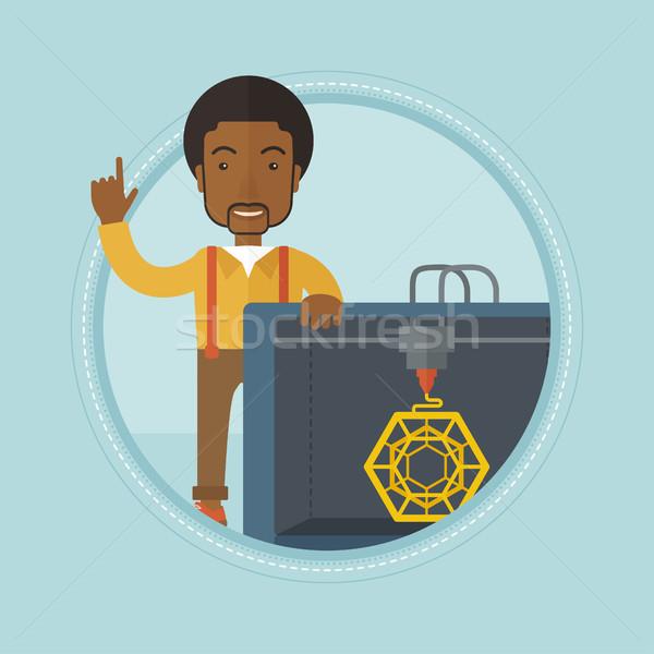 Man with three D printer vector illustration. Stock photo © RAStudio