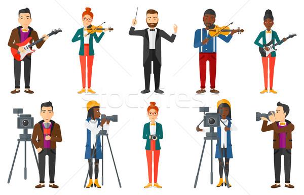 Сток-фото: вектора · набор · СМИ · люди · молодые