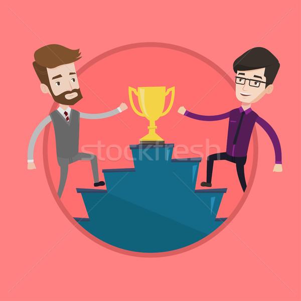 Két férfi versenyző üzlet díj üzletemberek trófea Stock fotó © RAStudio