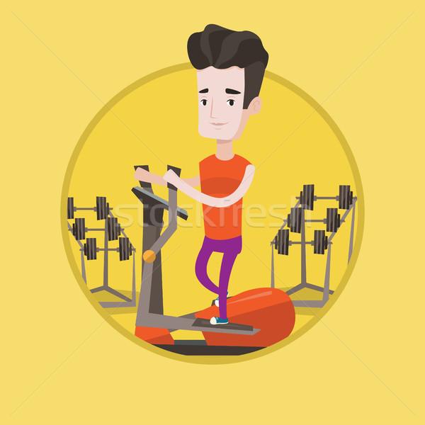 Adam egzersiz kafkas spor salonu Stok fotoğraf © RAStudio