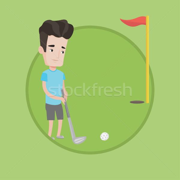 Golfer hitting the ball vector illustration. Stock photo © RAStudio