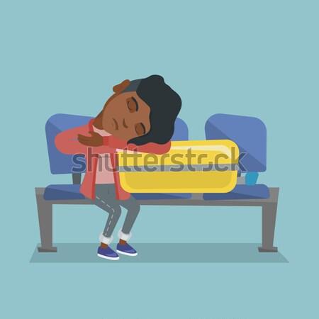 Kimerült férfi alszik bőrönd repülőtér fáradt Stock fotó © RAStudio