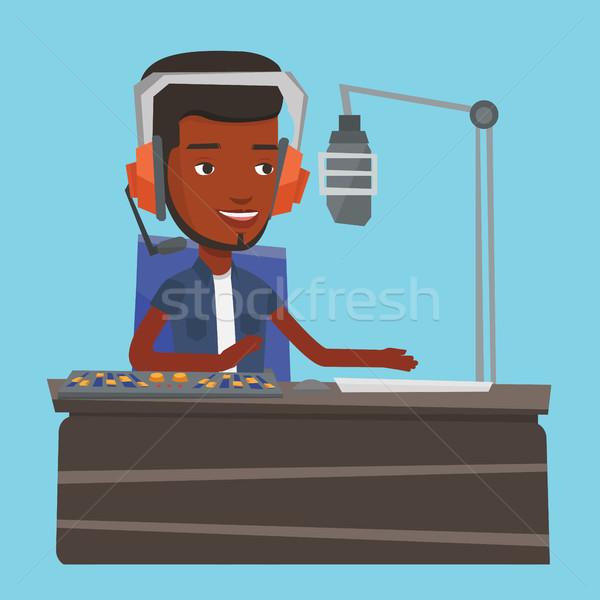 Male dj working on the radio vector illustration Stock photo © RAStudio