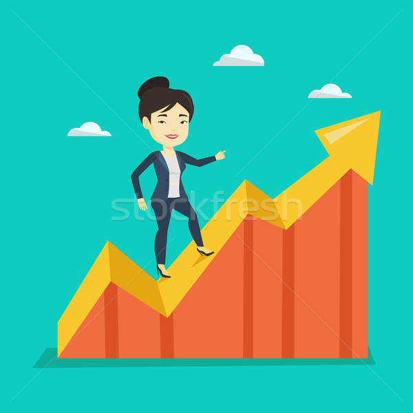 Business woman standing on profit chart. Stock photo © RAStudio