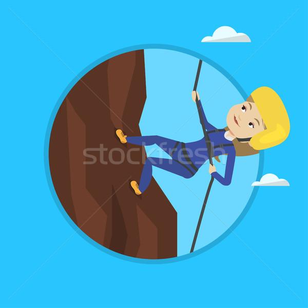 Stock fotó: Nő · mászik · hegyek · kötél · kaukázusi · tevékenység