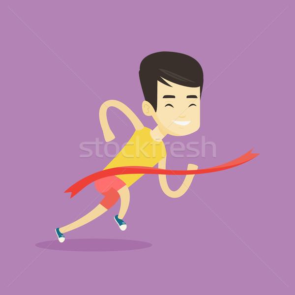 спортсмена счастливым азиатских спортсмен работает Сток-фото © RAStudio